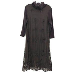 Sundance Eventide Angora Cowl Neck Brown Dress